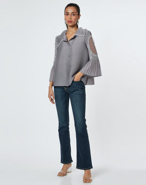 Pearled Pleated Shirt Top - Taupe
