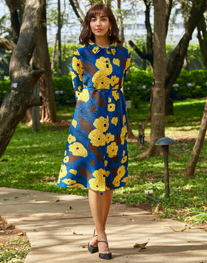 Flora Shirt Dress - Blue Yellow
