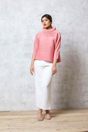 3/4 Sleeve Turtle Neck - Pink
