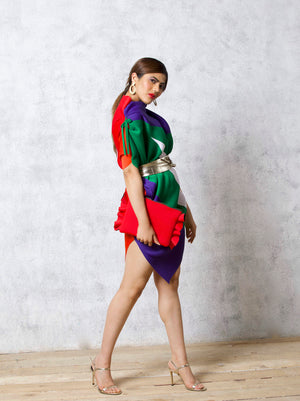Bias Cut Abstract Multicoloured Dress