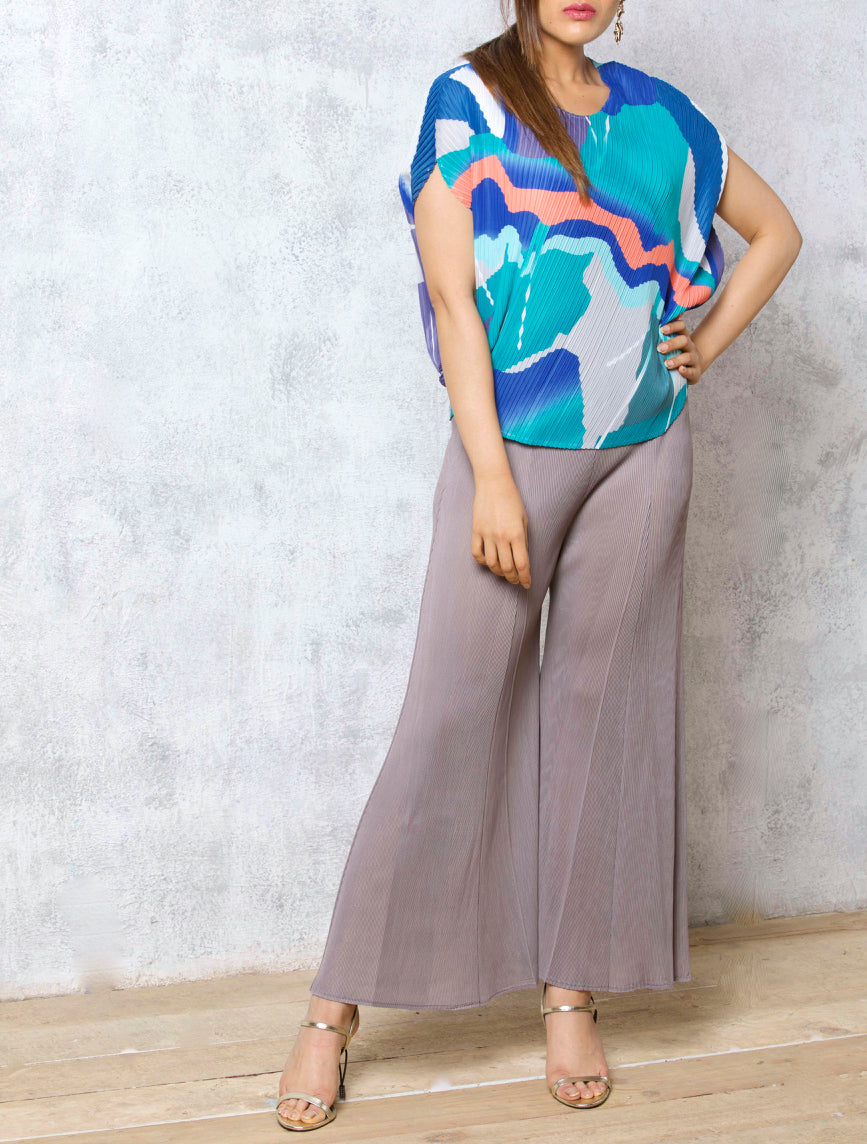 Abstract Blues Pleats Top