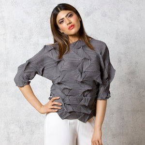 3Dimensional Pleated Top - Grey