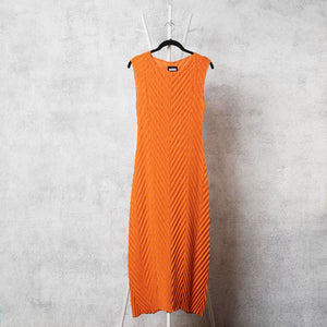 Chevron Pleated Dress - Orange