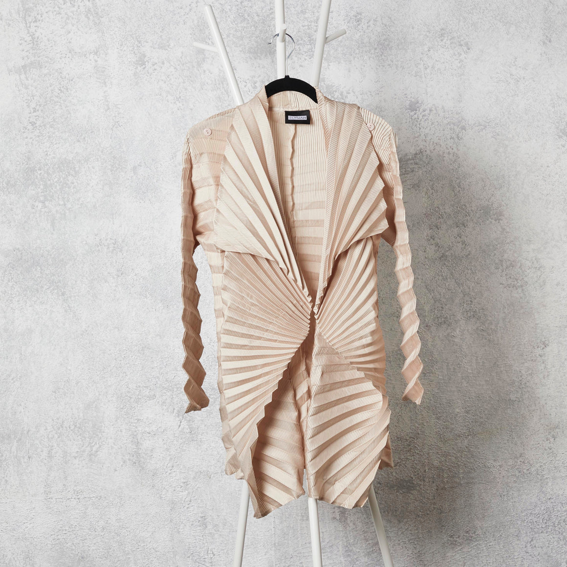 Chevron Pleated Jacket - Cream