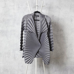 Chevron Pleated Jacket - Grey
