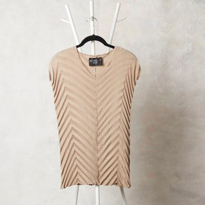 Chevron Sleeveless Top - Champagne