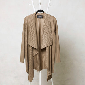 Pleated Mid-length Overlay - Taupe