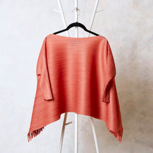 Flared 3/4th Sleeve Hi Low Fringe Top - Rust