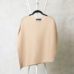 Diagonal Pleated Assymetrical Top - Cream