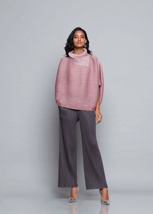 Batwing Turtleneck Top - Onion Pink