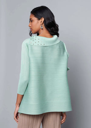 3/4th Sleeve Pearled Collar - Pale Mint