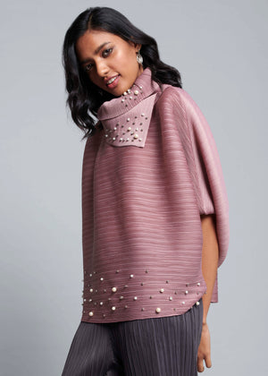 Batwing Pearled Turtleneck Top - Onion Pink