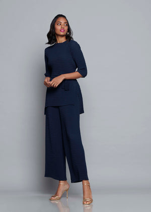 Chevron Pleated Tie Waist Co-ord Set - Navy