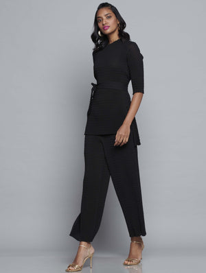 Chevron Pleated Tie Waist Co-ord Set - Black