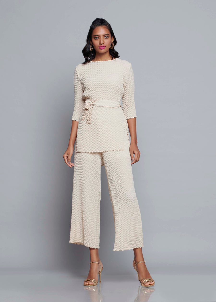 Chevron Pleated Tie Waist Co-ord Set - Ivory