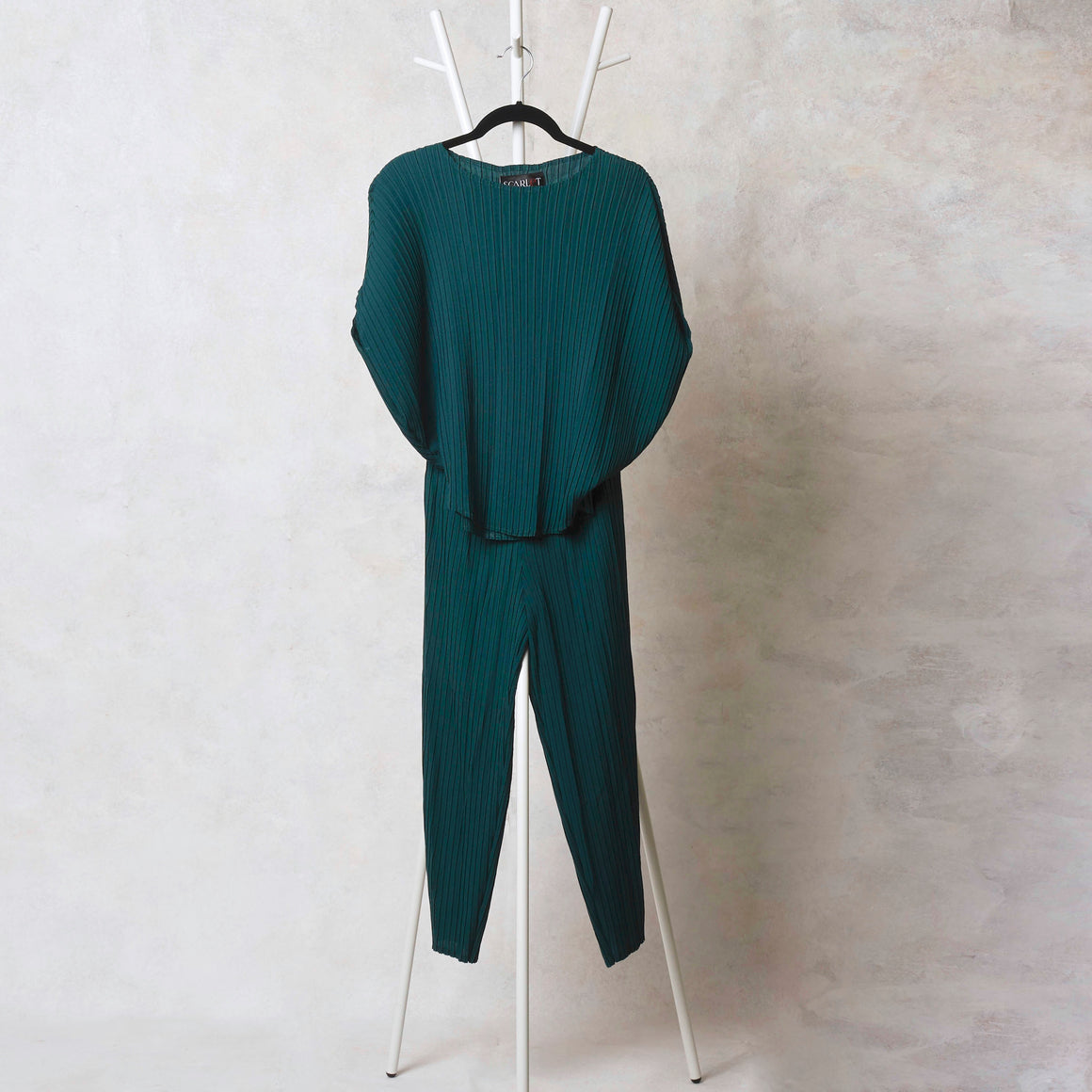 Parallel Pleat Co-ord Set - Dark Green