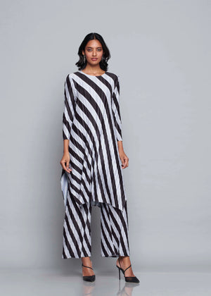 Large Stripe Co-ord Tunic Set - Black & Grey