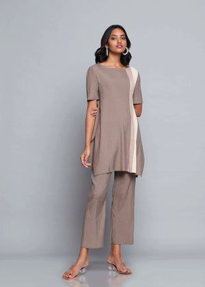 Stripe Colourblock Tunic Sets - Taupe Beige Cream