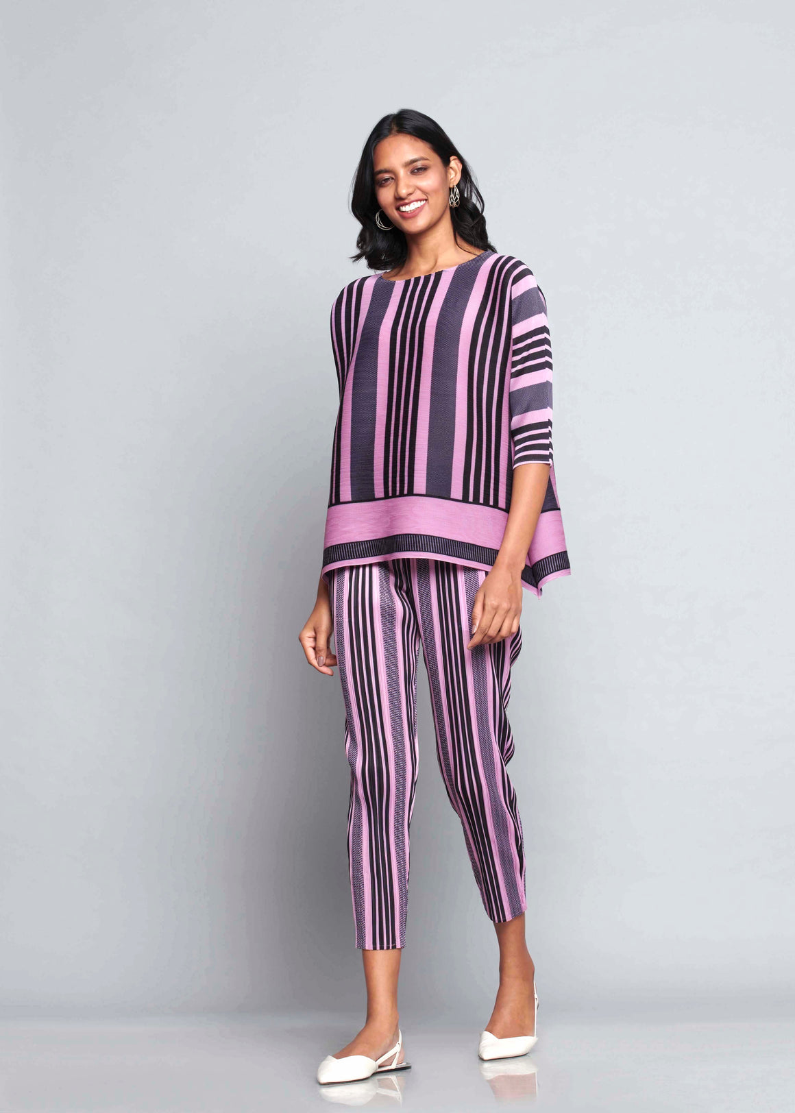 Co-ord Stripe Set - Mauve Pink & Black