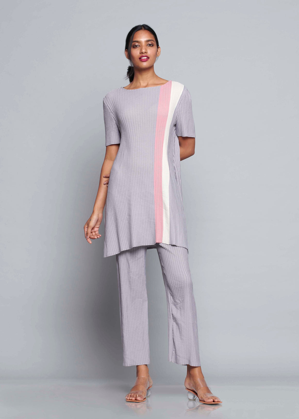 Stripe Colourblock Tunic Sets - Grey Pink Ivory