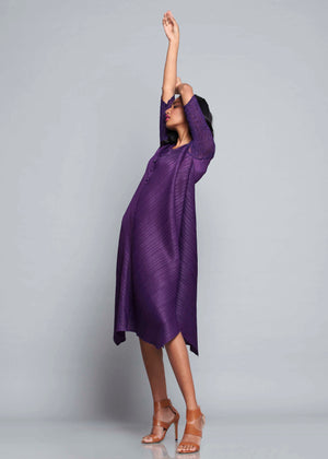 V Neck Tunic Dress - Purple
