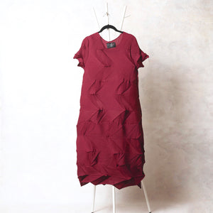 The 3D Monica Dress - Maroon