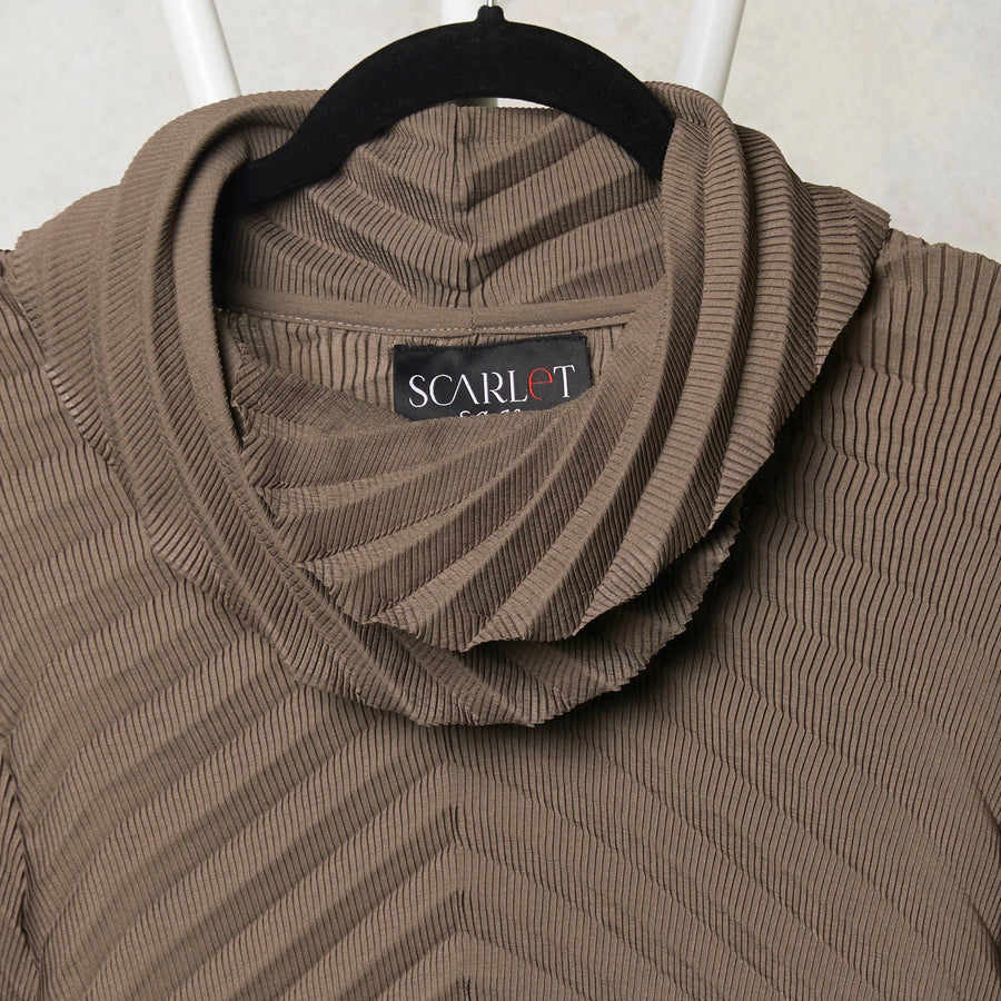 Chevron Pleated Cowl Neck Top - Taupe