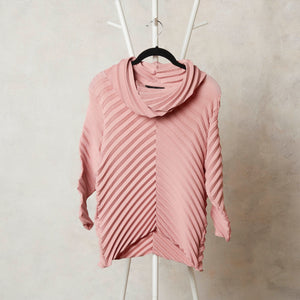 Chevron Pleated Cowl Neck Top - Pink