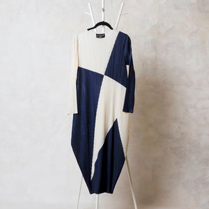 Absinthe Abstract Dress - Off White & Navy