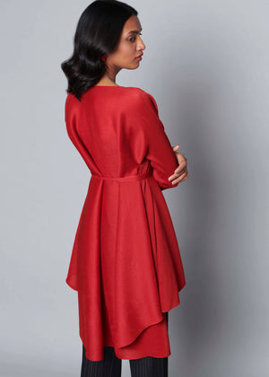 Lucy Hi Low Belted Tunic - Dark Red