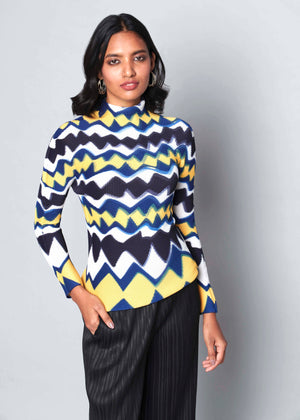Small Cube Pleat  Chevron Print Top - Yellow