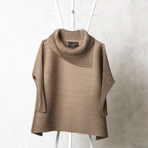 3/4 Sleeve Turtle Neck - Taupe