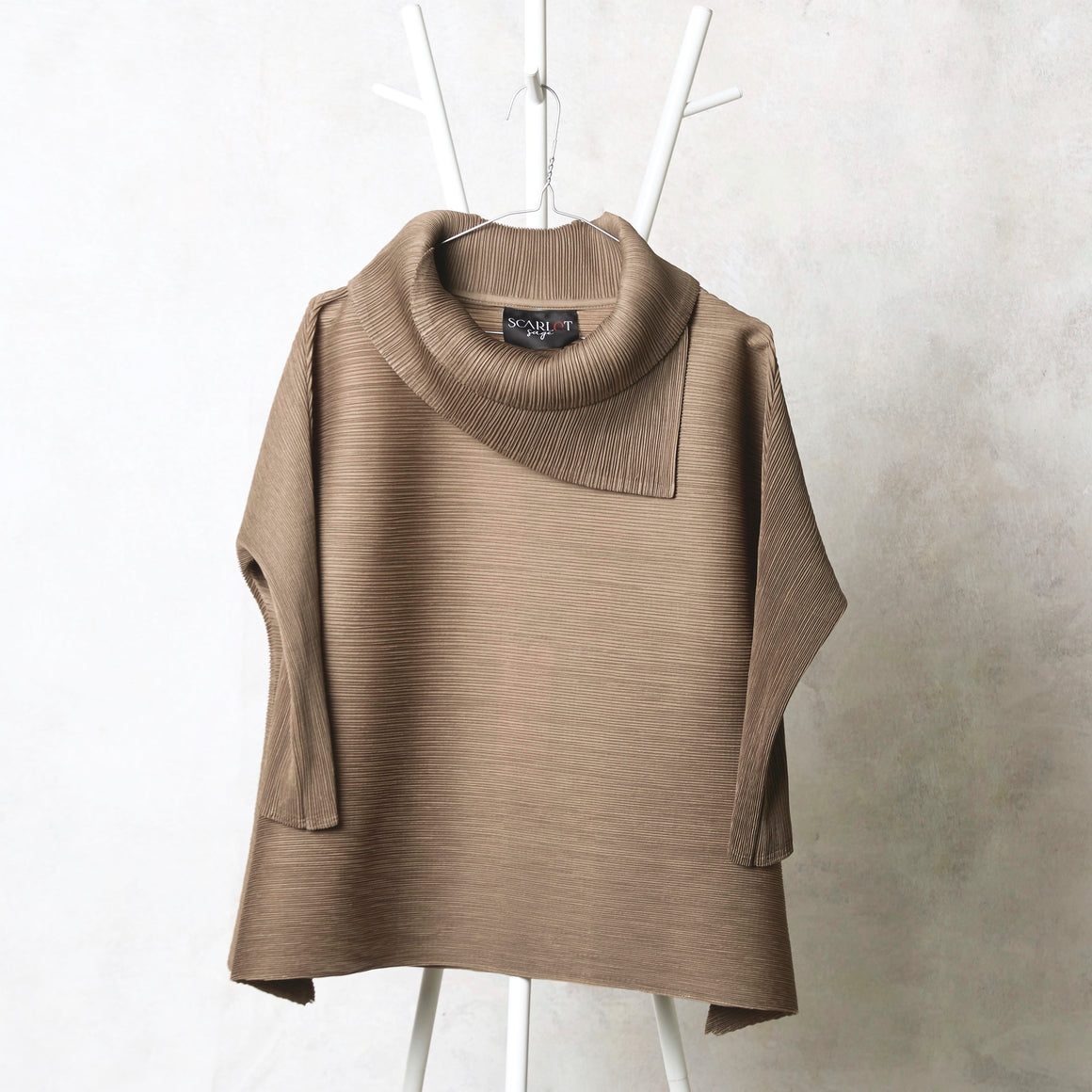 3/4th Sleeve Turtle Neck - Taupe