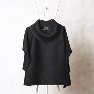 3/4th Sleeve Turtle Neck - Black