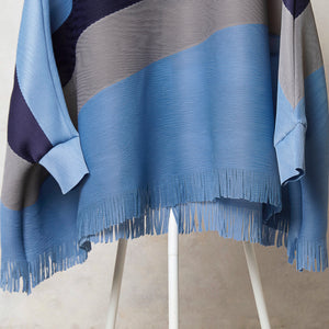Fringed Poncho Top Blue