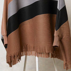 Fringed Poncho Top - Tan