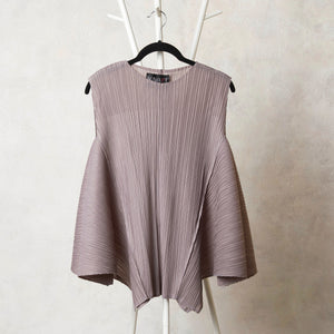 Flair Panel Sleeveless Everyday Top - Grey