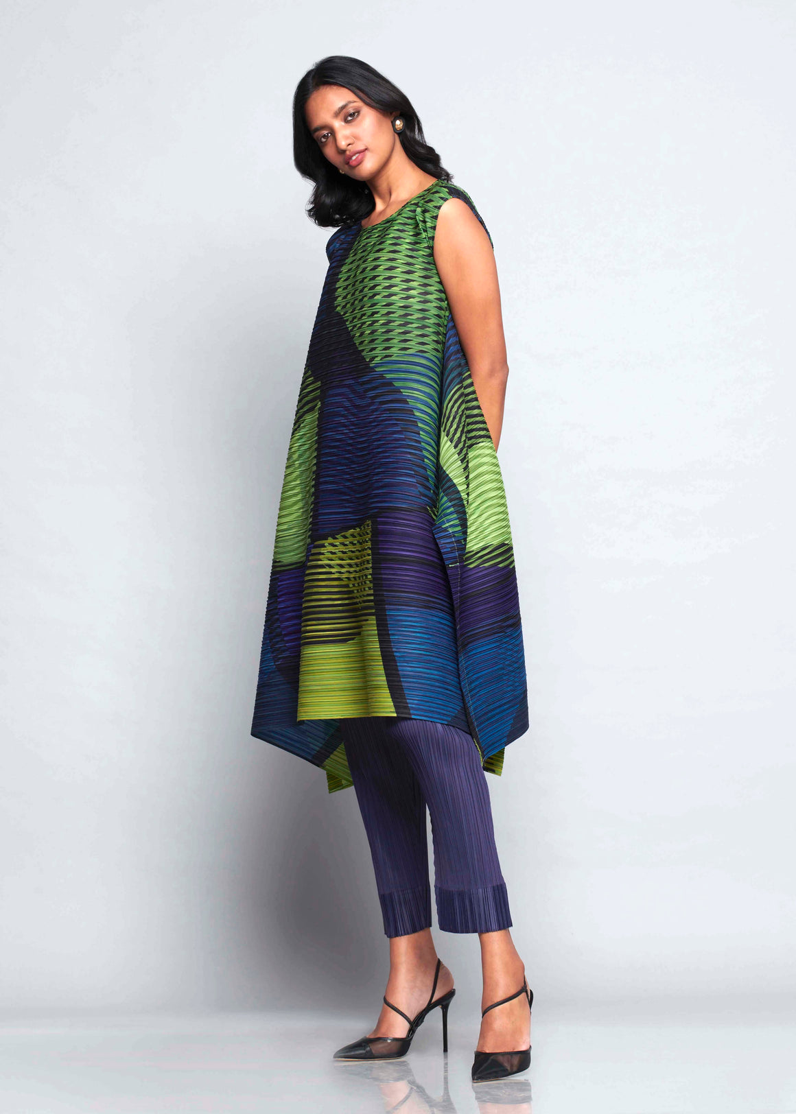 Abstract Pixel Flair Tunic Set - Blue Green
