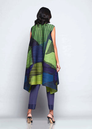 Abstract Pixel Flair Tunic Dress - Blue Green