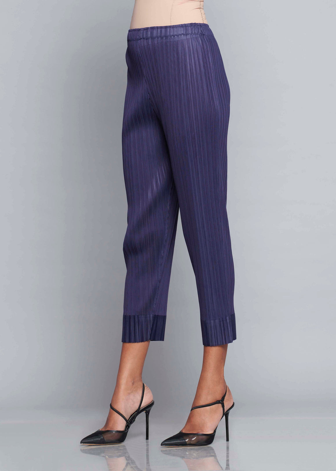 Pleated Slim Pants - Pale Navy Blue