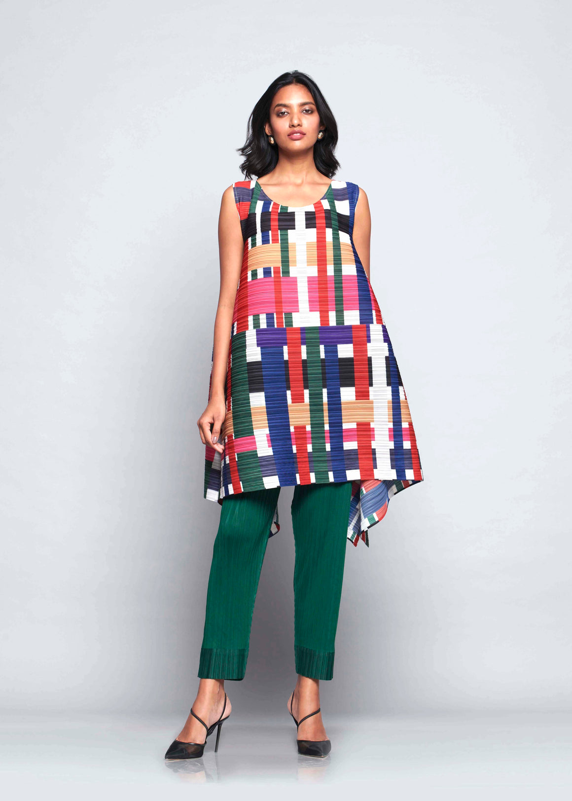 Abstract Art Flair Tunic Set  - Multicolour