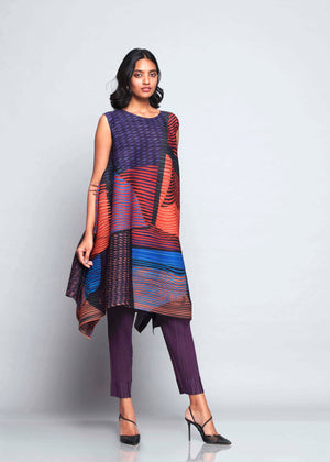 Abstract Pixel Flair Tunic Dress - Blue Orange