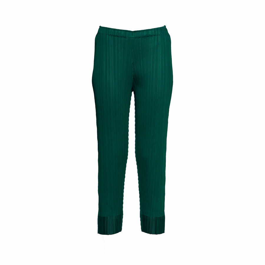 Pleated Slim Pants - Emerald Green