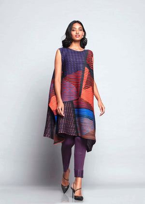 Abstract Pixel Flair Tunic Set - Blue Orange