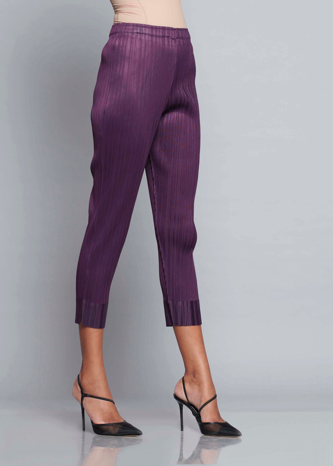 Pleated Slim Pants - Grape Purple