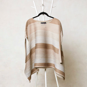 Long Sleeves Striped Top - Taupe & Cream