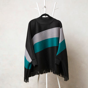 Fringed Poncho Top - Black