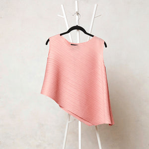Sleeveless Asymmetric Pleated Top - Pink