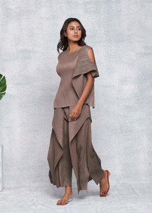 Alicia Layer Sleevless Co-ord Set - Taupe