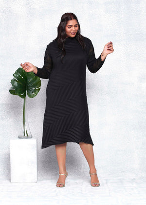 Chevron Pleated Sheer Sleeved Tunic Dress - Dull Black